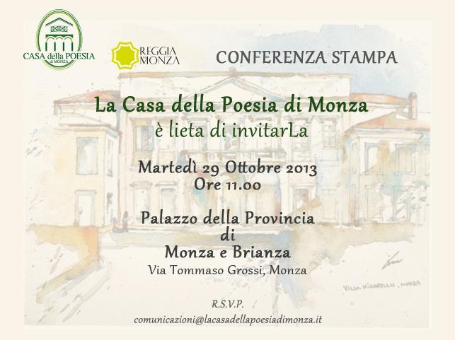 La Casa della Poesia di Monza 2013 - Conferenza stampa - Invito