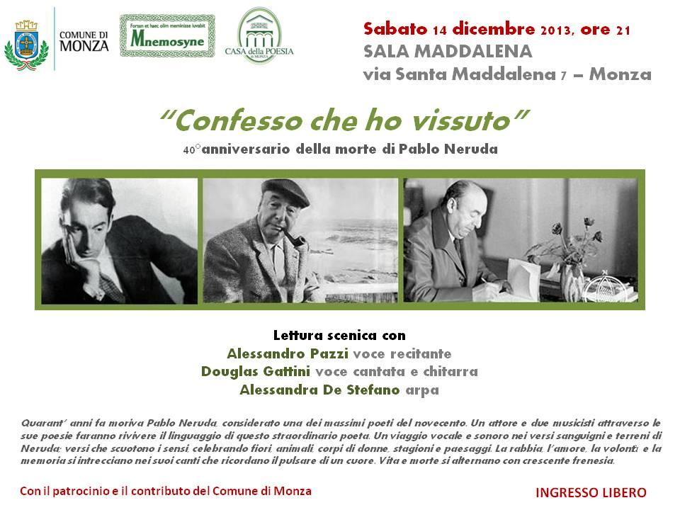 Pablo Neruda - Confesso che ho vissuto - evento 4.12.13 - locandina