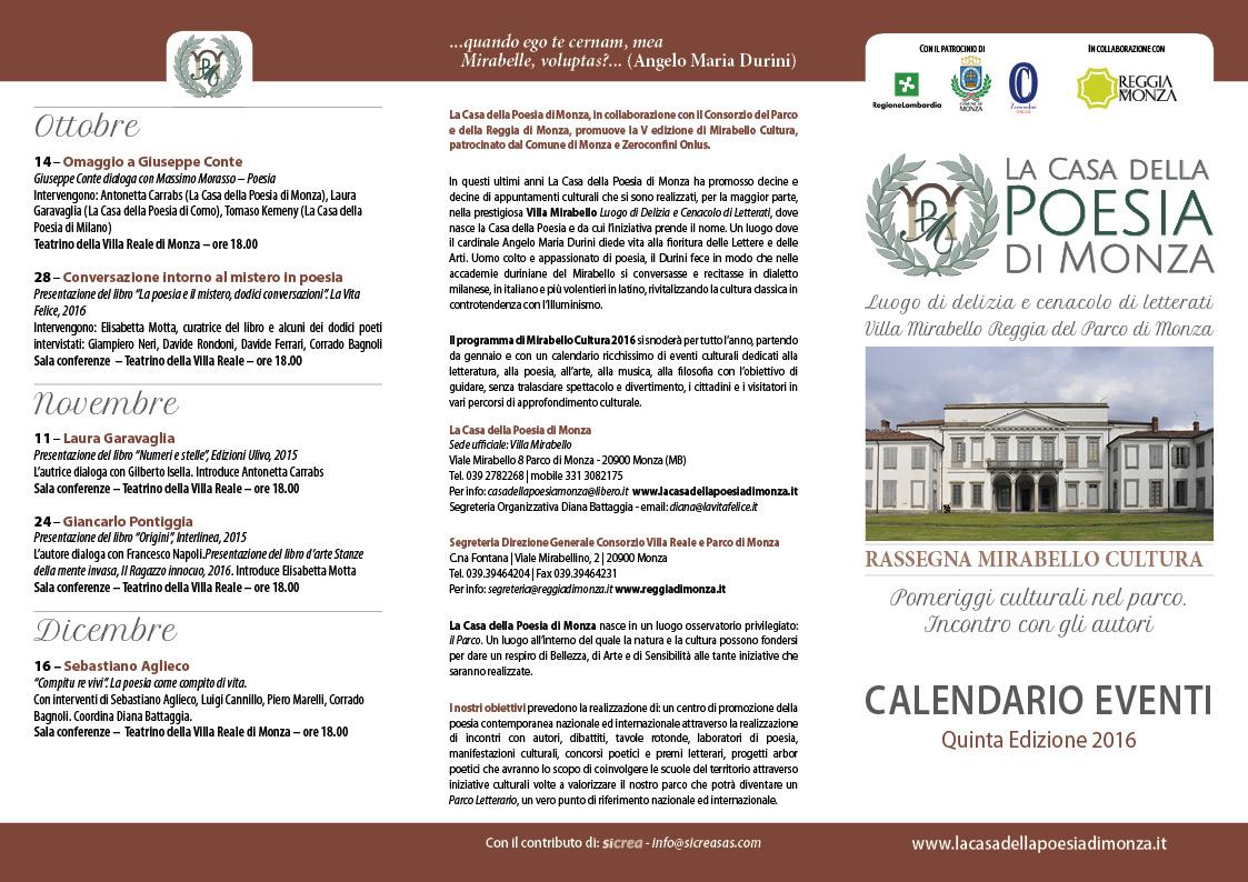 La Casa della Poesia di Monza MIRABELLO CALENDARIO 2016