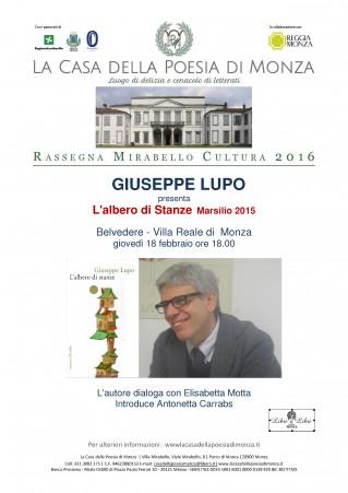Mirabello Cultura 2016 Giuseppe Lupo 18 febbraio - locandina