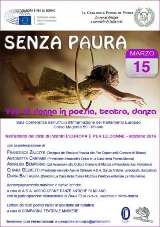 SENZA PAURA Voci di donna in poesia e teatro - Clicca per ingrandire