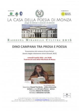 Laura Pariani 8 aprile 2016 Casa della Poesia di Monza - Mirabello Cultura Locandina