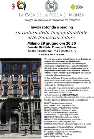 La cultura della lingua dialettale: arte, tradizioni, futuro | Milano 29 giugno ore 20.30 - Clicca per PDF