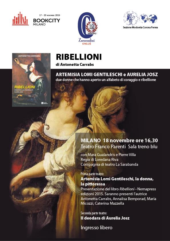 Antonetta Carrabs: Ribellioni - Bookcity, locandina. Clicca per PDF