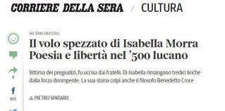 Corriere della Sera 16 sett 2016 Il volo spezzato di Isabella Morra - Poesia e libertà nel '500 lucano
