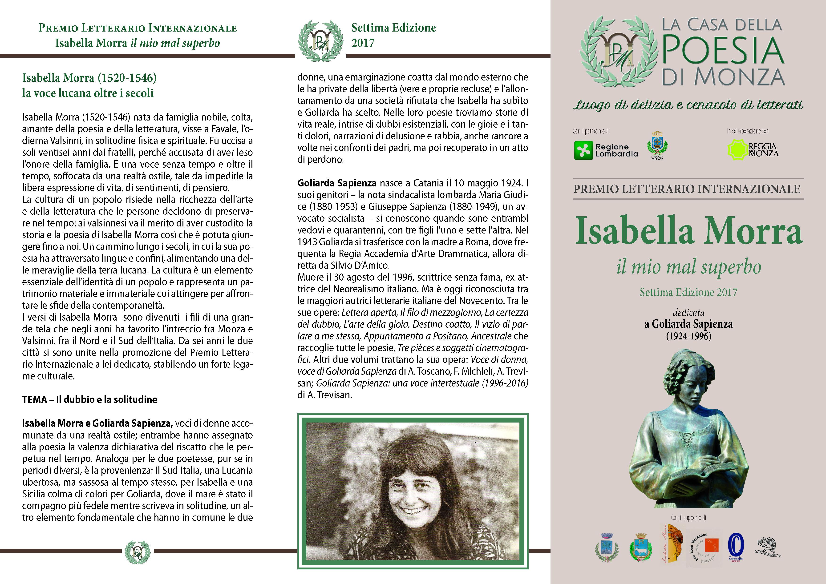 Premio Isabella Morra 2017 Bando informativo Brochure