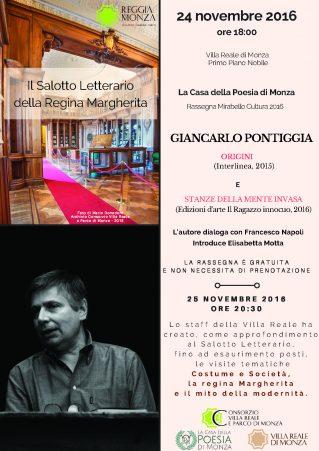 locandina Giancarlo Pontiggia - Mirabello Cultura - Il Salotto Letterario della Regina Margherita