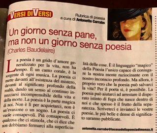 Versi diVersi - rubrica di Antonetta Carrabs sul Magazine Ora