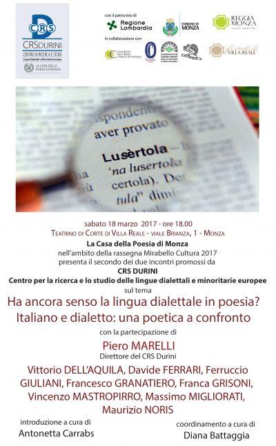 CRS Durini 18 3 17 Ha ancora senso la lingua dialettale in poesia