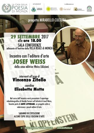 Loc. Monza 29 settembre incontro con Josef Weiss - Piccoli Editori dArte in Reggia