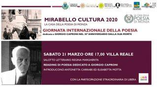 Giornata mondiale della poesia dedicata a Giorgio Caproni (1912-1990) nel trentesimo  anniversario della sua morte