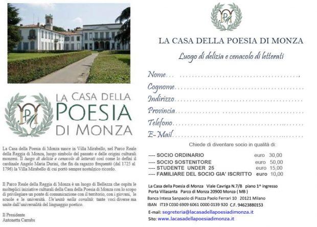 La Casa della Poesia di Monza - Diventa Socio - Clicca l'immagine per ingrandire.