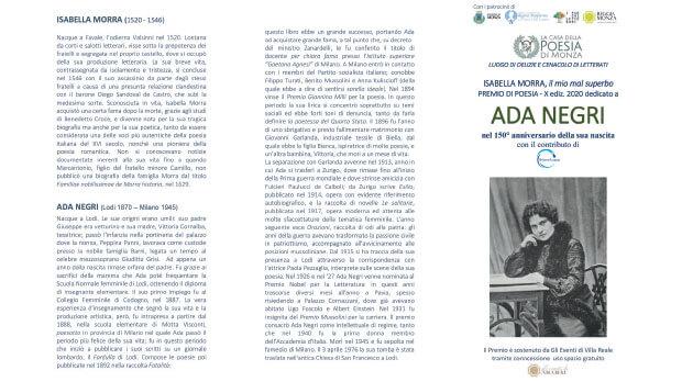 Premio Isabella Morra 2020 - locandina